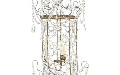 A Russian brass and crystal glass chandelier, wih three internal lights. 19th century. H. 77...