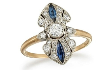 A SAPPHIRE AND DIAMOND DRESS RING The elongated