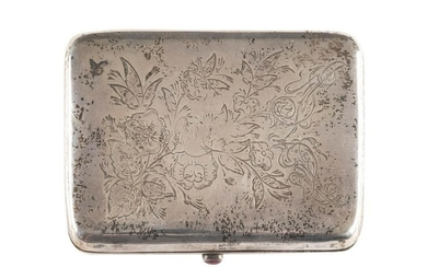 A SILVER CIGARETTE CASE WITH A SPRAY OF FLOWERS