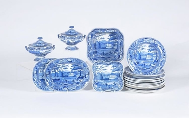 A Staffordshire blue and white pearlware 'Lakeside Meeting' pattern part dinner service