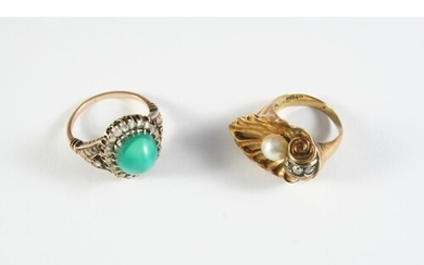 A TURQUOISE AND DIAMOND CLUSTER RING the oval-shaped turquoi...