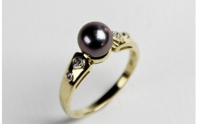 A Tahitian pearl and diamond 14ct gold dress ring, the round...