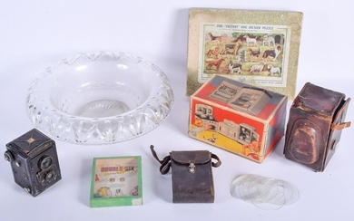 A VINTAGE GLASS BOWL together with assorted cameras
