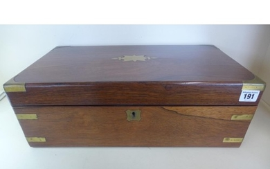 A Victorian Rosewood brass bound writing slope, 15cm tall x ...