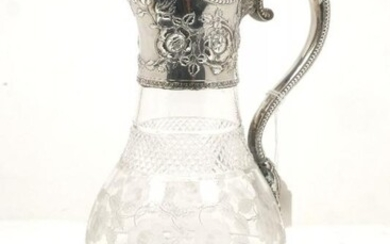 A Victorian silver mounted cut glass jug,...