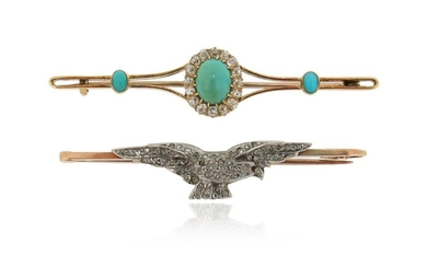 A Victorian turquoise and diamond bar brooch, set...