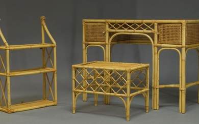 A bamboo and caned bedroom suite, second half 20th Century,...