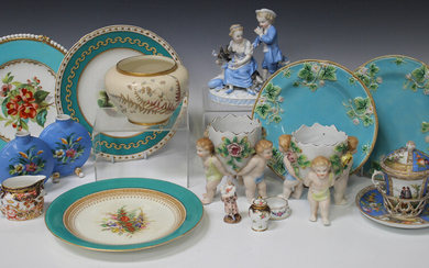 A group of decorative British and Continental porcelain and pottery, late 19th and 20th century, inc