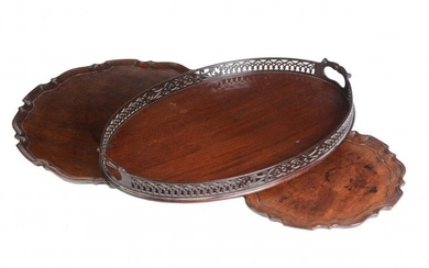 A group of three various mahogany trays