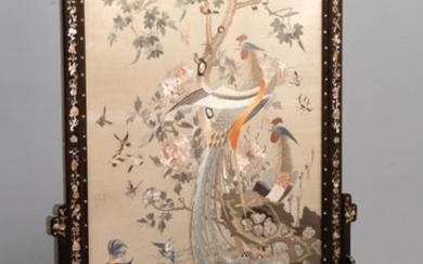 A large Chinese mother of pearl inlaid wooden...