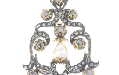 A late 19th century silver and gold rose-cut diamond and pearl pendant.