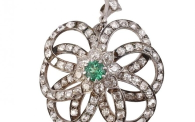 A late Victorian and later diamond and emerald brooch/pendant