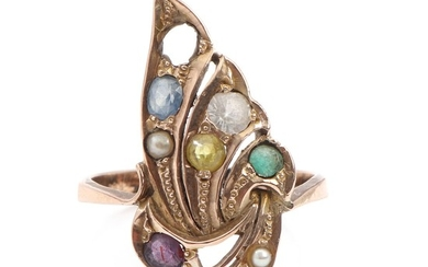 A multi-gemstone ring set with faceted emerald, topaz, sapphire, pearls etc., mounted in 8k gold. Size 62. Weight app. 4 g.