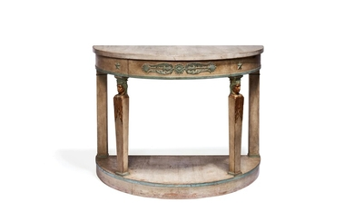 A painted and parcel giltwood console table in Empire style