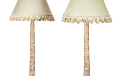 A pair of Neoclassical style pine floor lamps