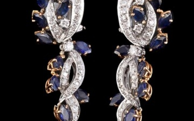 A pair of diamond and sapphire drop ear pendants