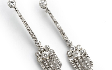 A pair of diamond ear pendants each set with numerous old and single-cut diamonds, mounted in 14k white gold. H-J/VS-P1. L. app. 4.6 cm. (2)