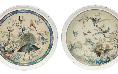 A pair of double-sided circular embroidered panels