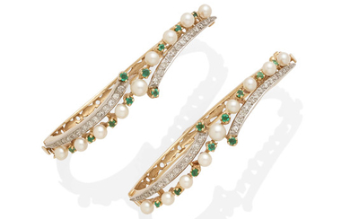 A pair of pearl, diamond and emerald bangles