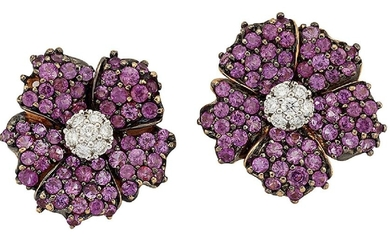 A pair of pink sapphire and diamond flowerhead...