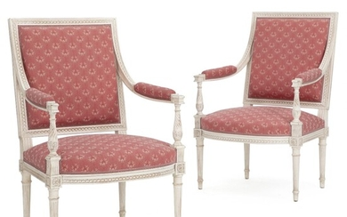 NOT SOLD. A pair of white painted Louis XVI style armchairs. 20th century. (2) –...
