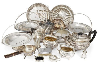 A quantity of silver plate, including four...