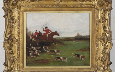A.B. Ould, Provincial School - Hunting Scene with Huntsmen following Hounds on the Scent, oil on pan