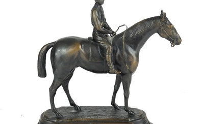 AFTER JOULES MOGNIEZ, 1835 - 1895, A BRONZE HORSE AND JOCKEY...