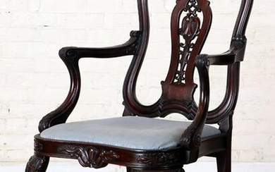 AMERICAN CHIPPENDALE STYLE CARVED MAHOGANY CHAIR