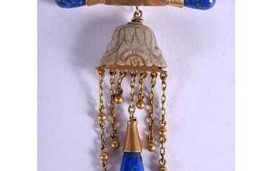 AN UNUSUAL 19TH CENTURY CHINESE JADE GOLD AND LAPIS LAZULI P...