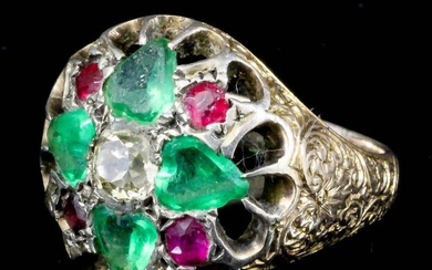 """An Indian Emerald, Ruby and Diamond """"Maharajah"""" Ring, in..."""