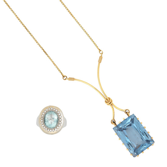 An aquamarine and diamond ring and a synthetic spinel pendant