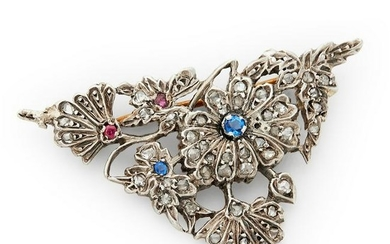 Early 20th century sapphire, ruby and diamond brooch.