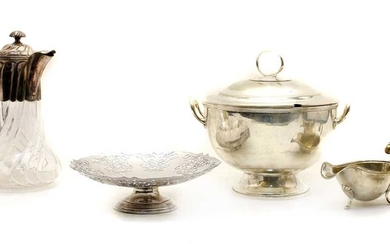 An electroplated twin handled soup bowl and cover