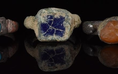 Ancient Roman Bronze and Silver Collection of Three Rings with Stones