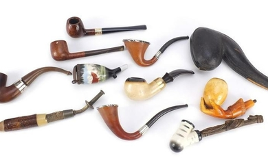 Antique and later pipes, some silver mounted including