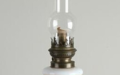 Antique hand-painted opaline glass kerosene lamp with