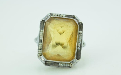 Art Deco White Gold and Rectangular Citrine Filigree