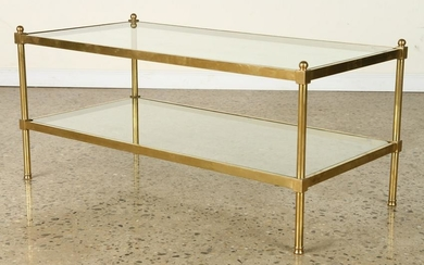 BRASS COFFEE TABLE WITH GLASS SHELVES C.1970