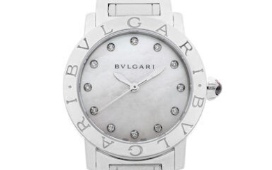 BVLGARI | BVLGARI BVLGARI, A NEW OLD STOCK STAINLESS STEEL Bracelet WATCH WITH MOTHER-OF-PEARL DIAL and DIAMOND-SET HOUR INDEXES, CIRCA 2019