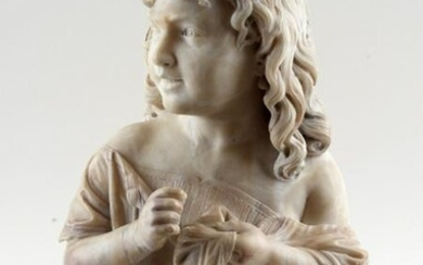 CARVED ALABASTER FIGURE ON MARBLE BASE C.1900