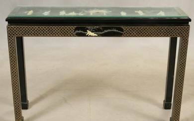 """CHINESE BLACK LACQUER CONSOLE TABLE, H 30"""", W 44"""""""