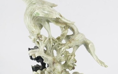 CHINESE CELADON JADE GROUP OF BIRDS