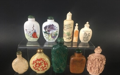 COLLECTION OF CHINESE SNUFF BOTTLES in various materials inc...
