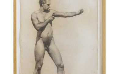 Carl T. Pfeufer Male Nude Study Pencil Drawing, Signed