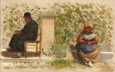 Carl Thomsen: A man of the cloth reading and a woman seated on a stone bench. Signed C. Th. Oil on canvas laid on cardboard. 10×15.5 cm.