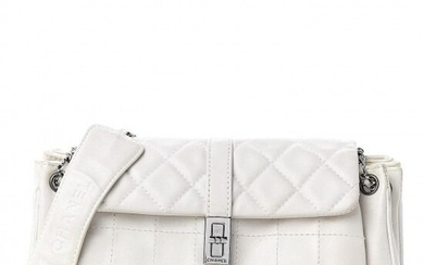 Chanel - Lambskin Quilted Accordion Mademoiselle Flap White Clutch bag