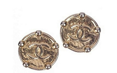 Chanel Monogram Button Earrings