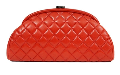 Chanel Red Timeless Quilted Lambskin Clutch