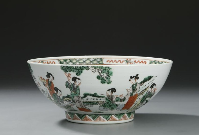 Chinese Famille Verte Punch Bowl